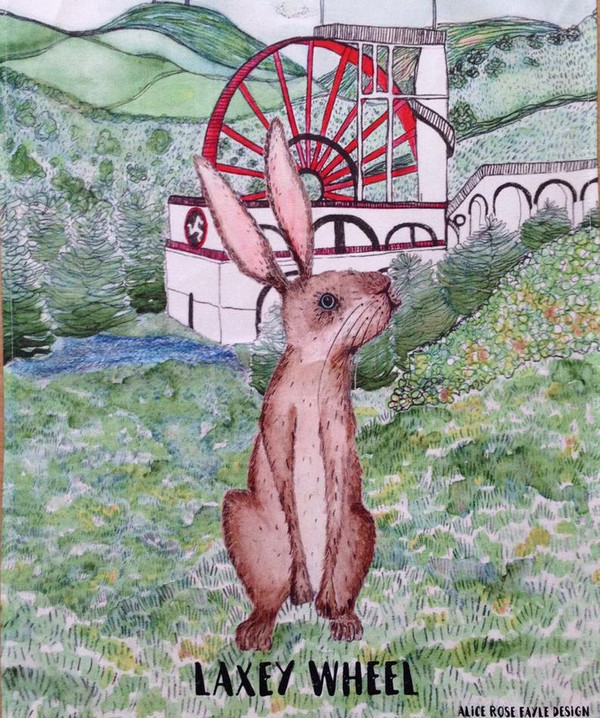Hare and Laxey Wheel T Towel designed by Alice Rose Fayle - unfolded