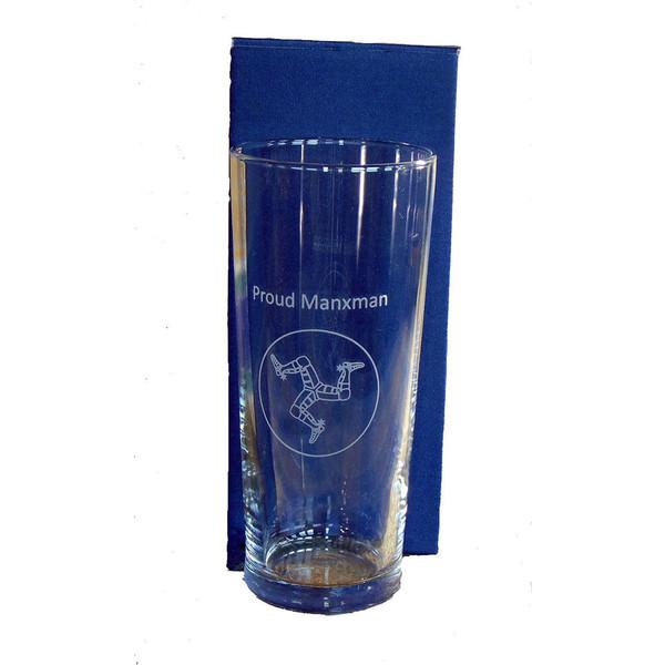 Proud Manxman pint beer glass