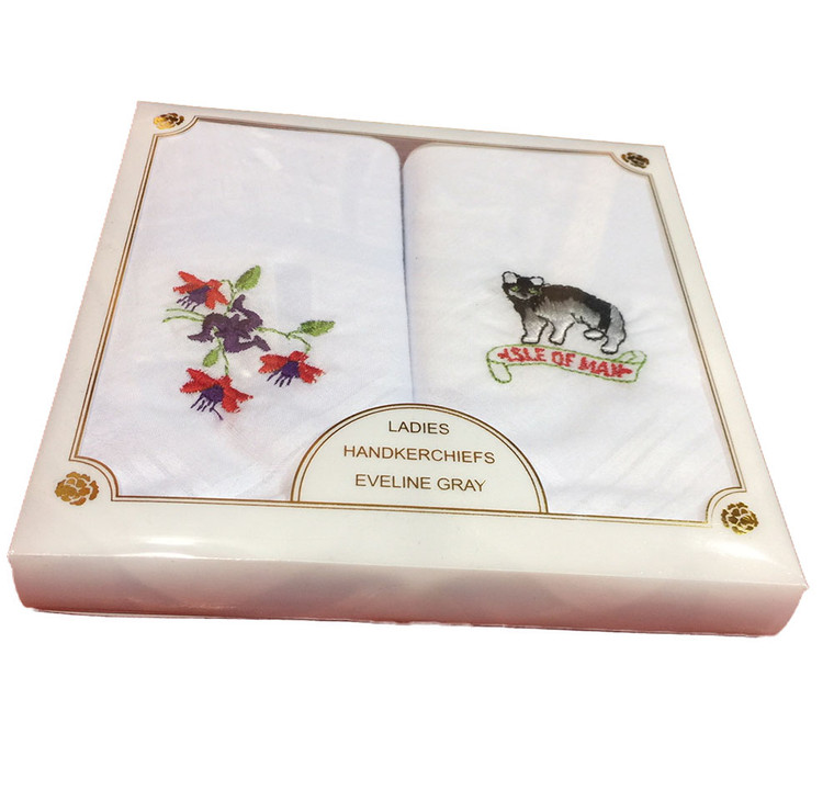 Manx cat & Fuchsia hankies