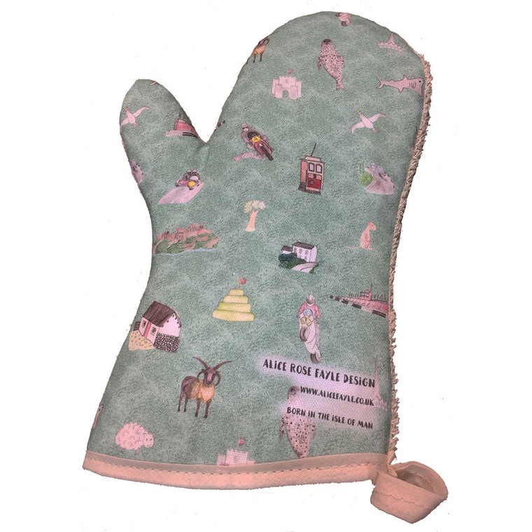 Single, Isle of Man oven glove/gauntlet by Alice Rose Fayle