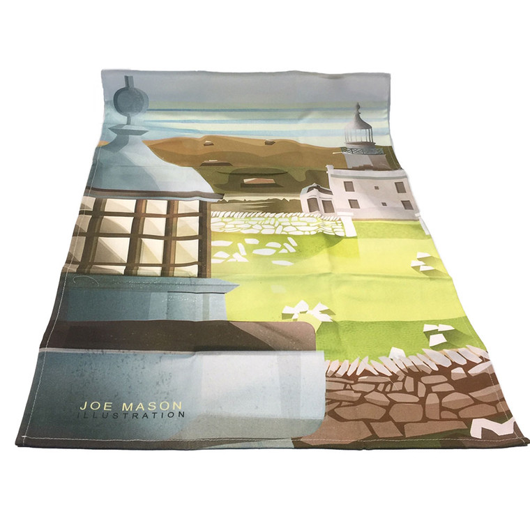 Calf of Mann lighthouses tea towel