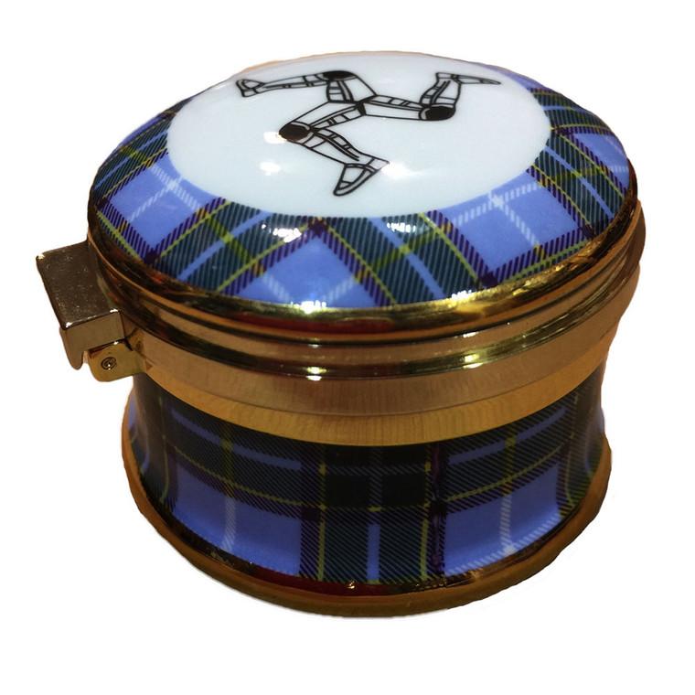 Hinged Manx tartan trinket box
