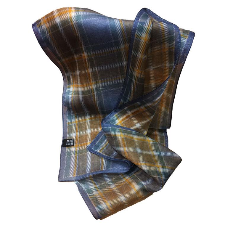 Brown Manx hunting tartan silk scarf