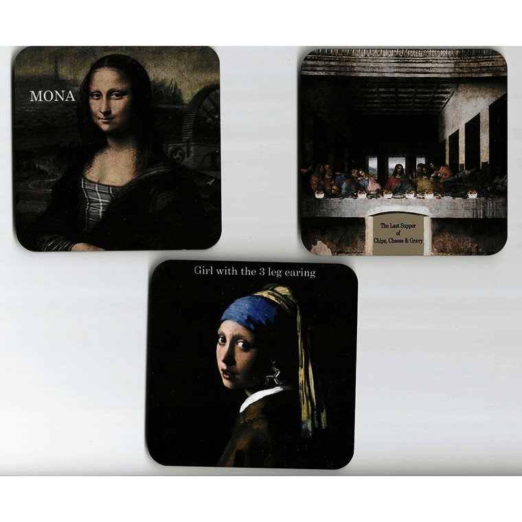 Set of Three Different Isle of Man Manxified Famous Painting Coasters