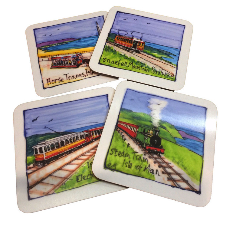 Set of four Victorian transport Placemats from the Isle of Man