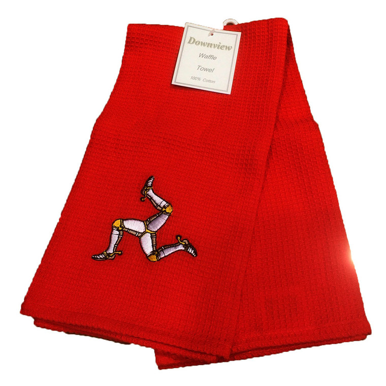 Red 3 leg tea towel from the Isle of Man