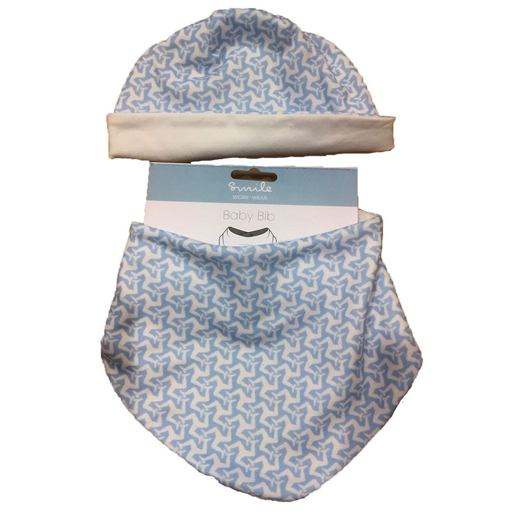 Blue Manx baby bib and hat set