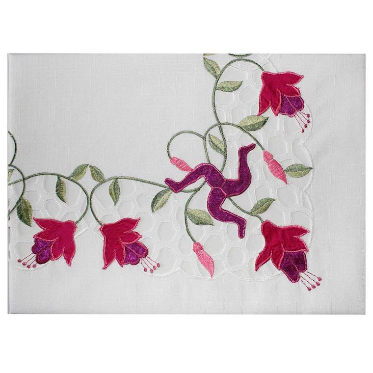 Embroidered Manx fuchsia tablecloth