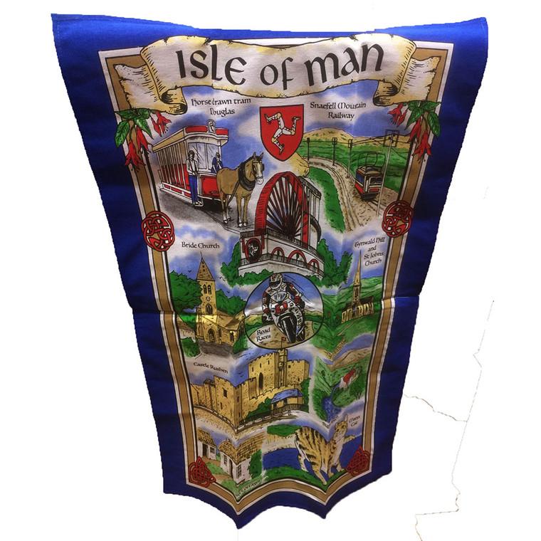 Isle of Man Blue Border Tea Towel
