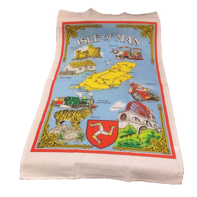 White border Manx tea towel