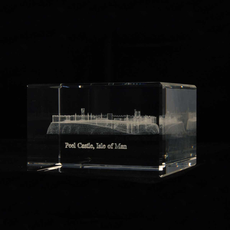 Peel castle glass crystal block