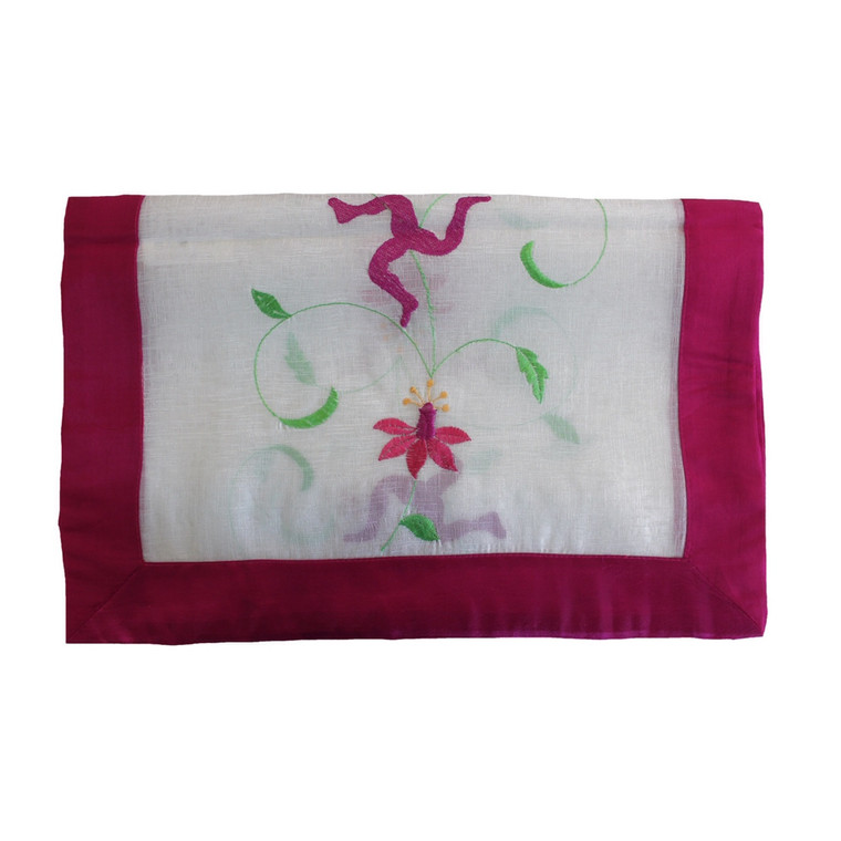 Fuchsia Voile Table Runner with Pink Border
