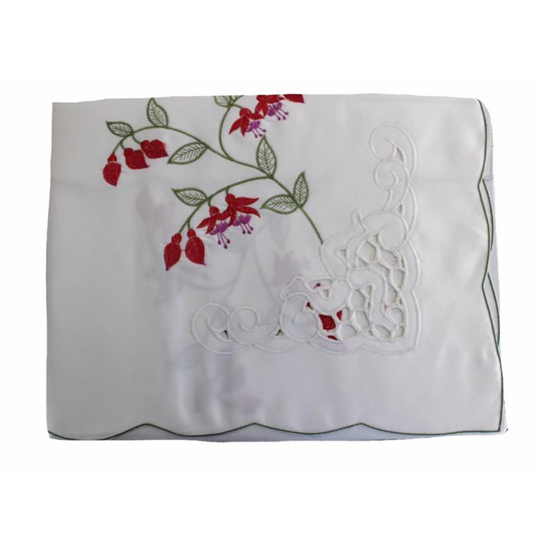 Isle of Man Fuchsia Tablecloth with Cutout Manx 3 Legs