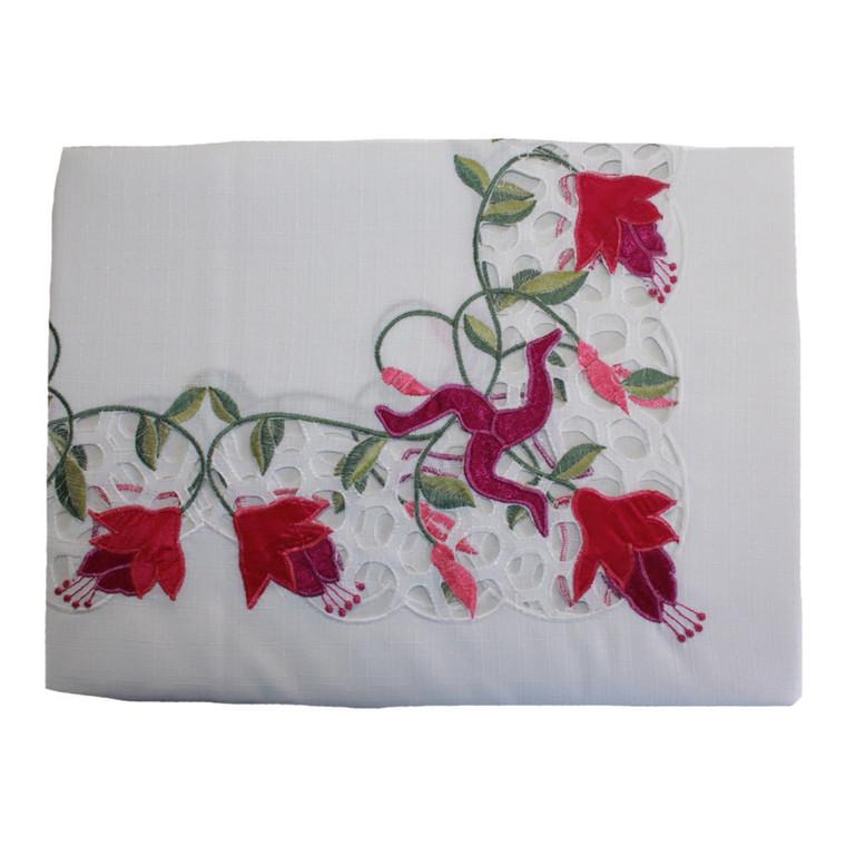 Isle of Man Fuchsia Oblong Tablecloth with Manx 3 Legs