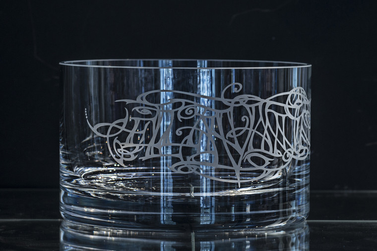 Glass fruit bowl with Julia Ashby Smyth's Ellan Vannin design