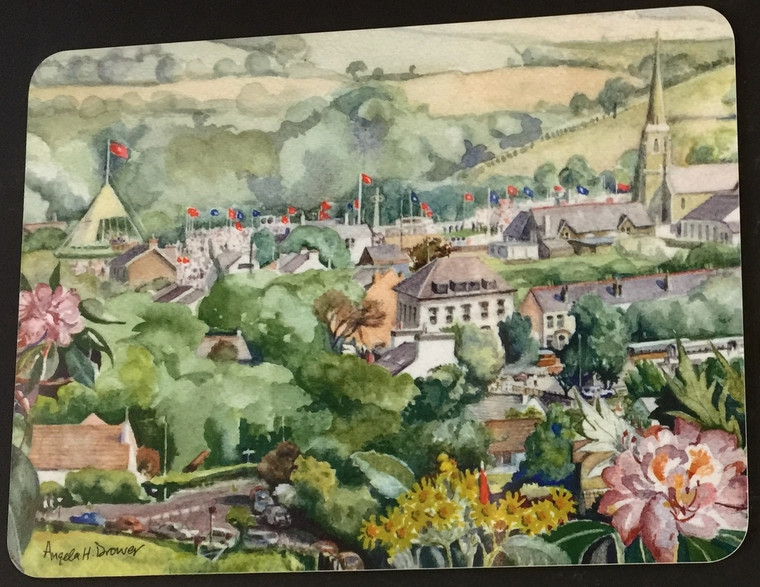 Set of 6 identical placemats showing 'Tynwald Day', a watercolour by Manx artist Angela Drower