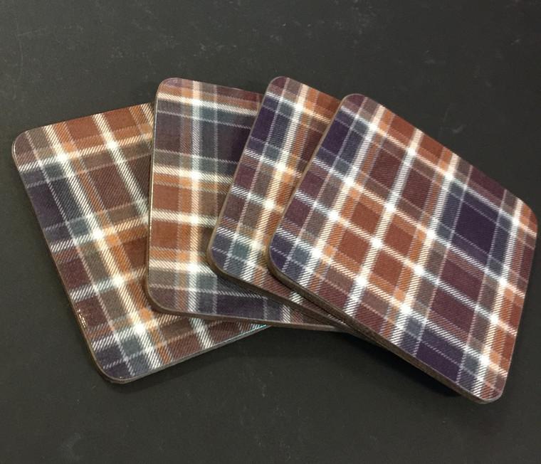 Set of Four Manx Hunting Tartan Coasters