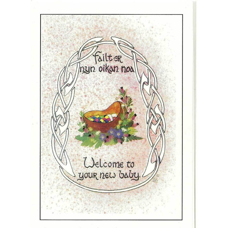 Greetings card by Dorcas Costain-Blann, 'Welcome to your new baby' in Manx and English