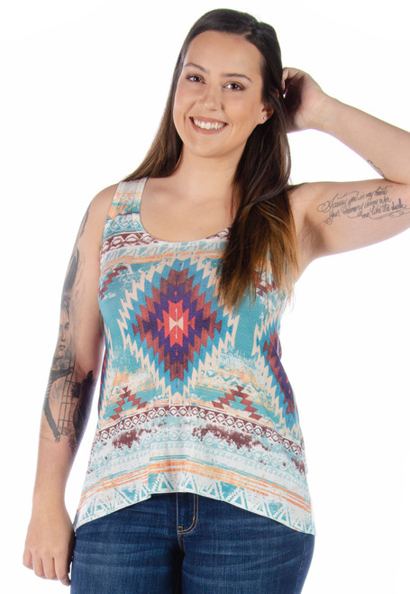 7506 Lace Back Aztec Tank - Ladies USA Made