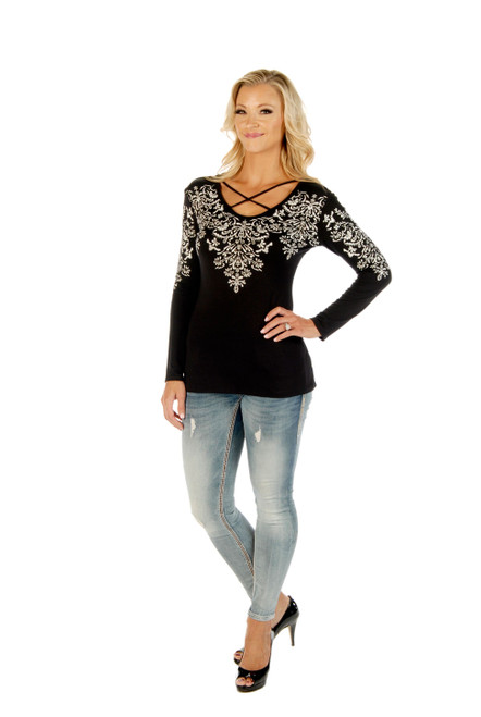 7290 Crossed Elegance Top - Ladies USA Made - Black