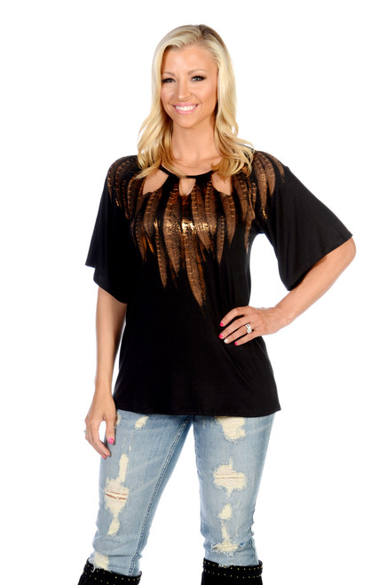 7663 Peekaboo Feathers - Ladies USA Made Shirt