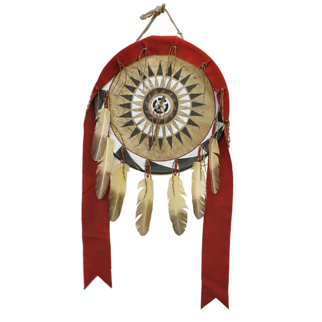 Native American Style War Shield: Black War Bonnet Design
