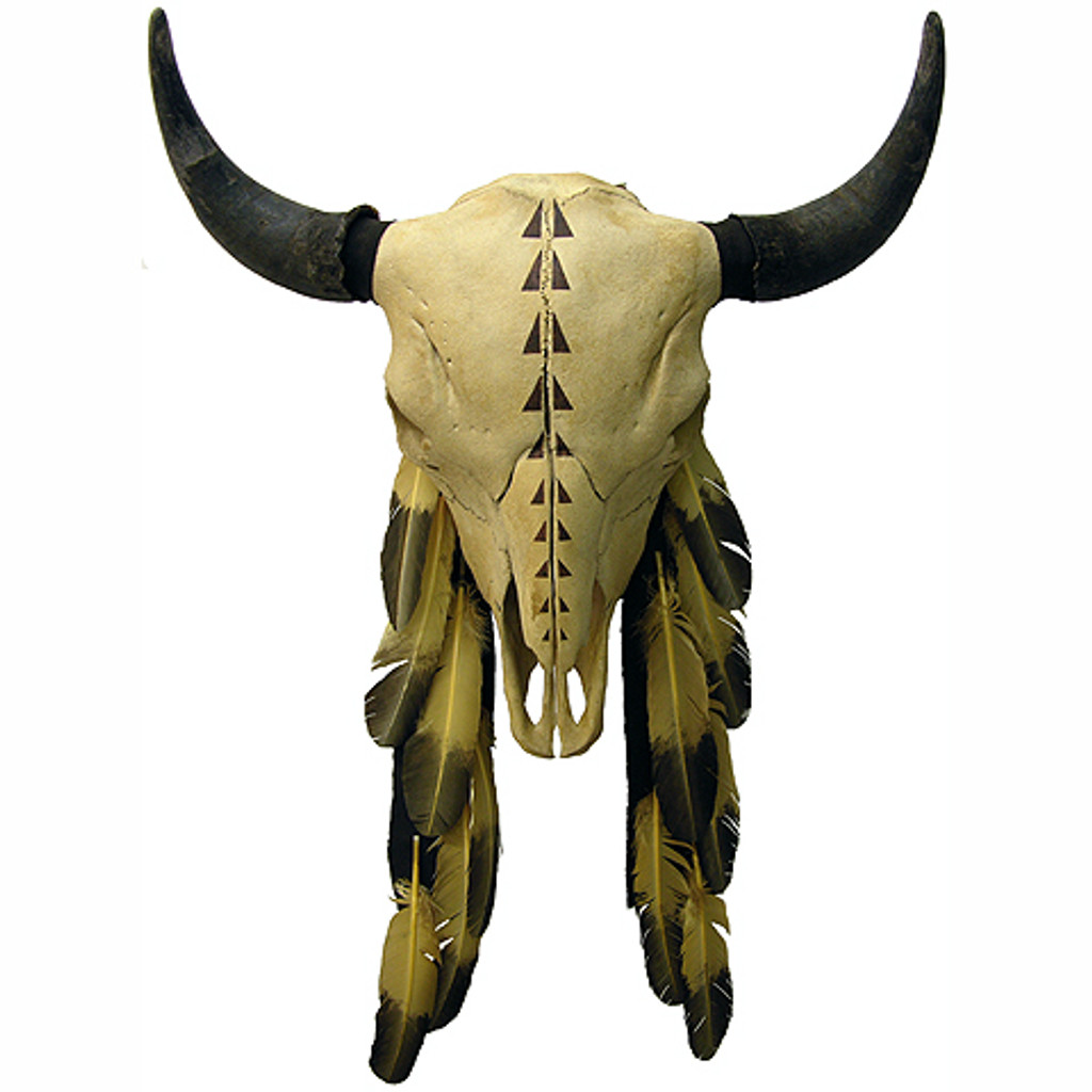 Hand Painted Buffalo Skull w. Painted Track Design