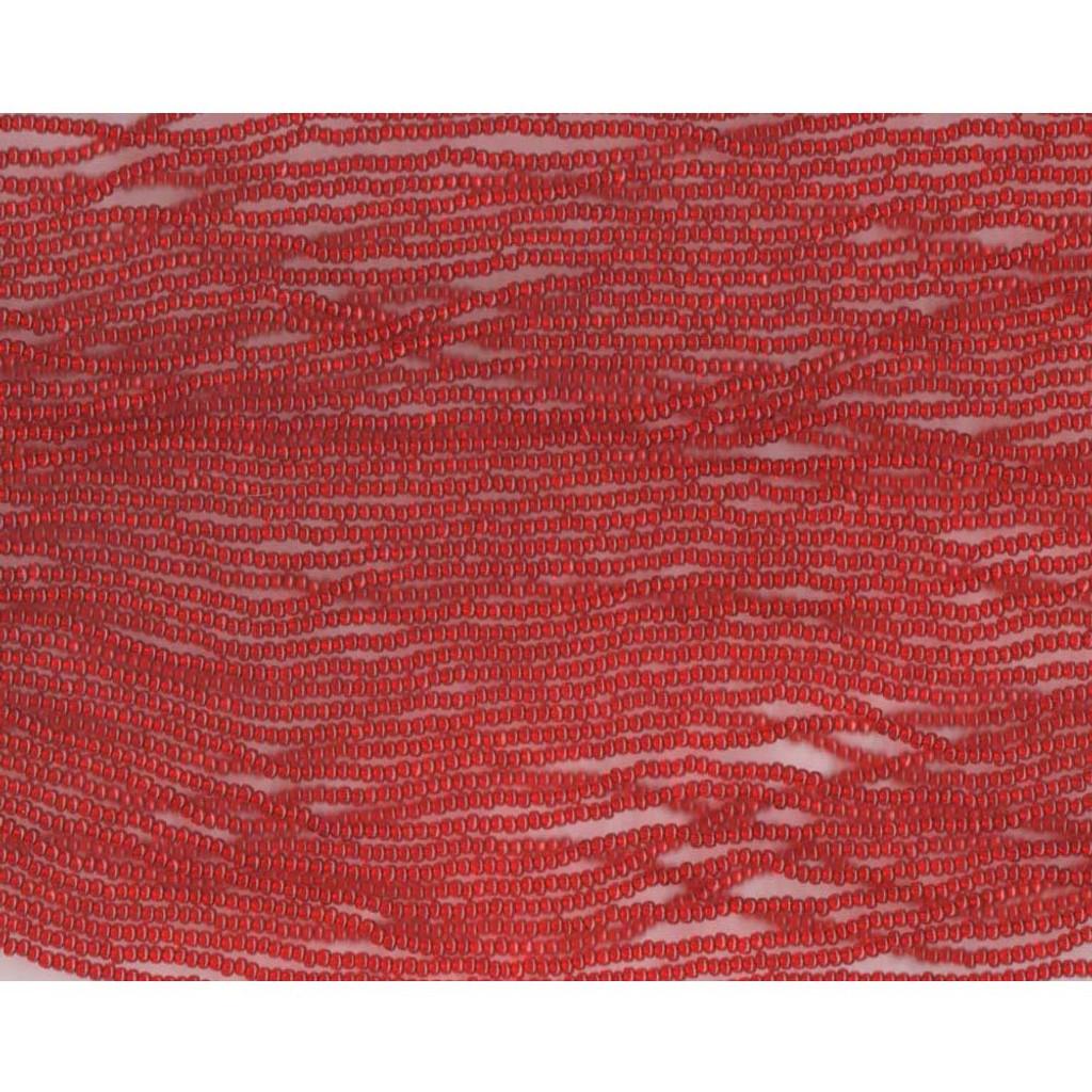 Czech Dark Red Transparent Glass Bead (80D): 13/0 Cut