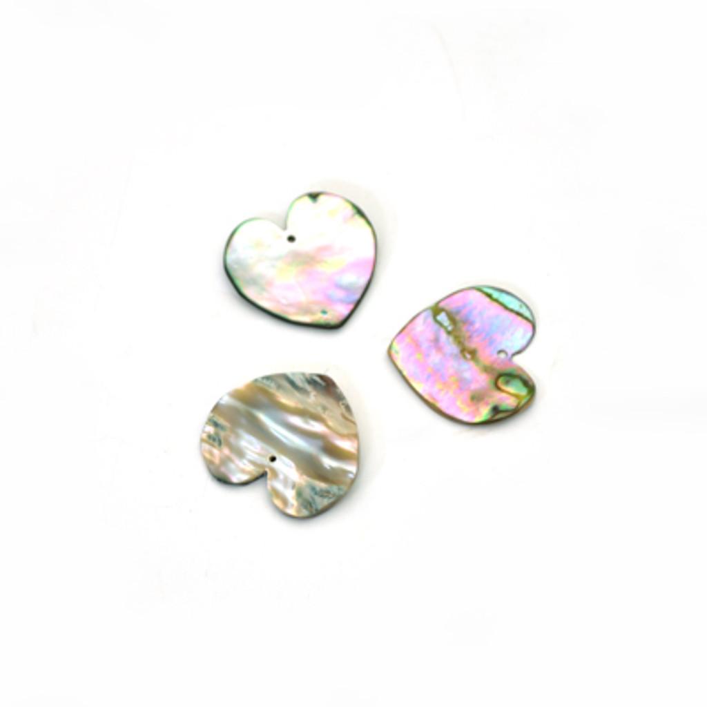 Heart Shaped Abalone Shell Discs (1 Hole)