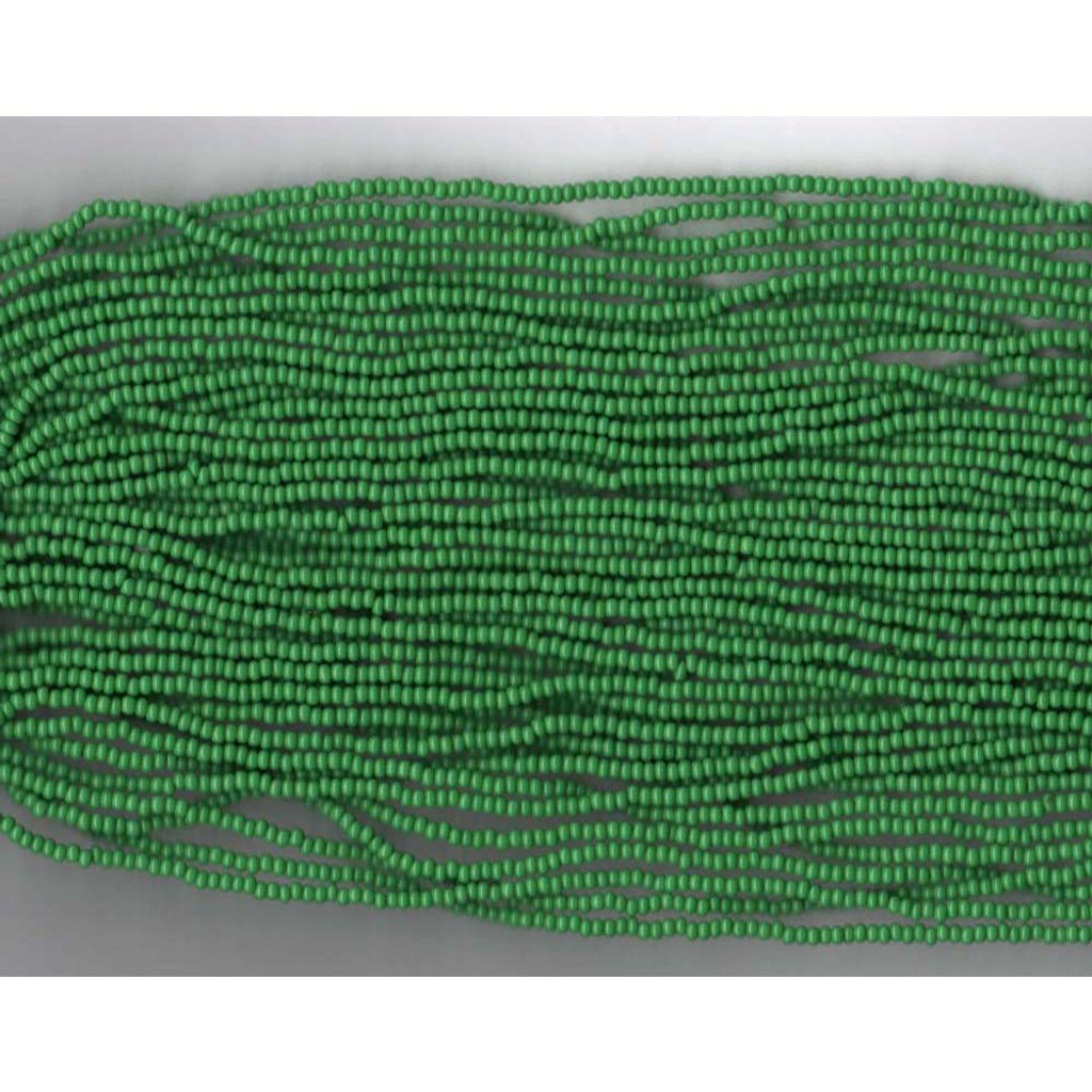 Czech Dark Green Opaque Glass Bead (218): 13/0 Cut