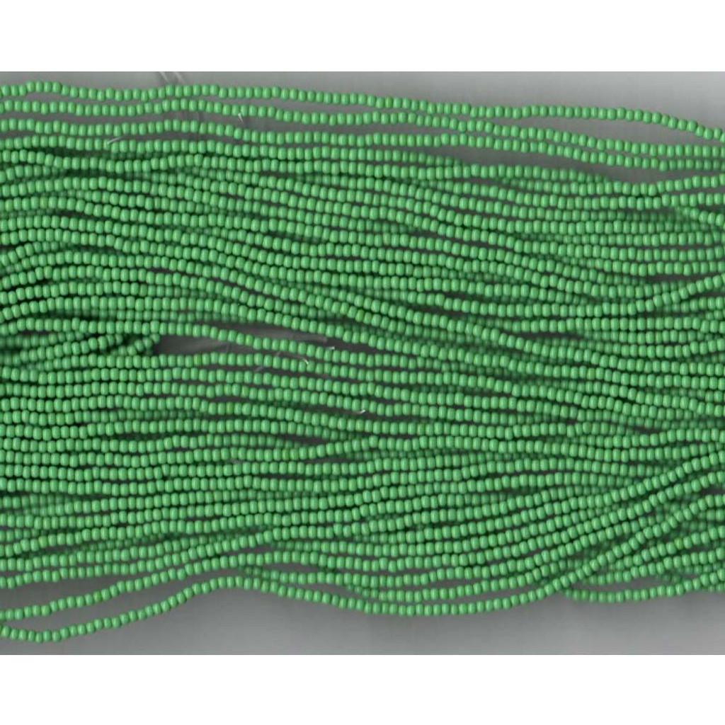 Czech Apple Green Opaque Glass Bead (208): 11/0