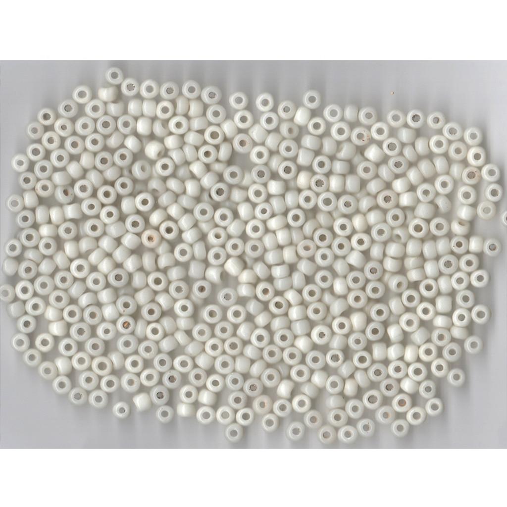 Venetian Glass Beads White 3 Translucent: Size 2 Pony Bead