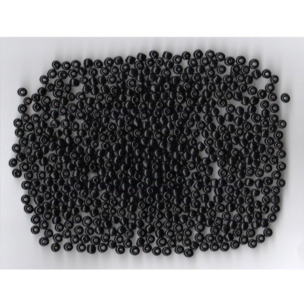 Venetian Black 1 Opaque Glass Bead: Size 5 Pony Size Bead