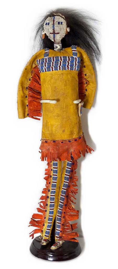 Native American Hand Made Man Doll w Beaded Face