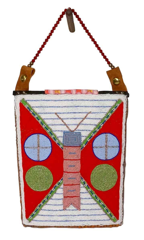 Native American Hand Beaded Bag: The Butterfly - Side 1