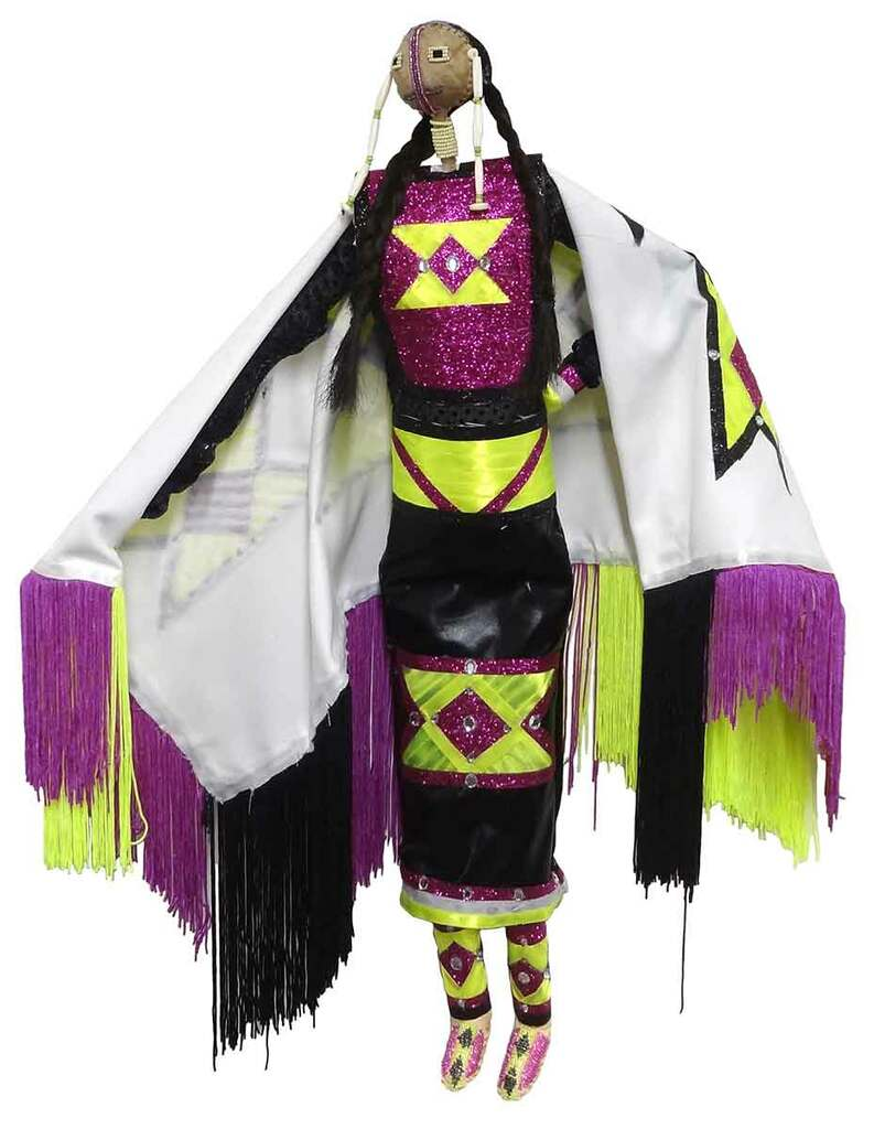 Native American Made Large Fancy Shawl Dancer Doll - Front View