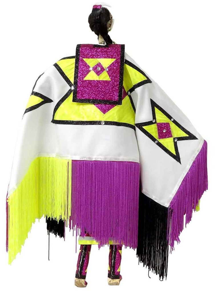 Native American Made Large Fancy Shawl Dancer Doll - Back View