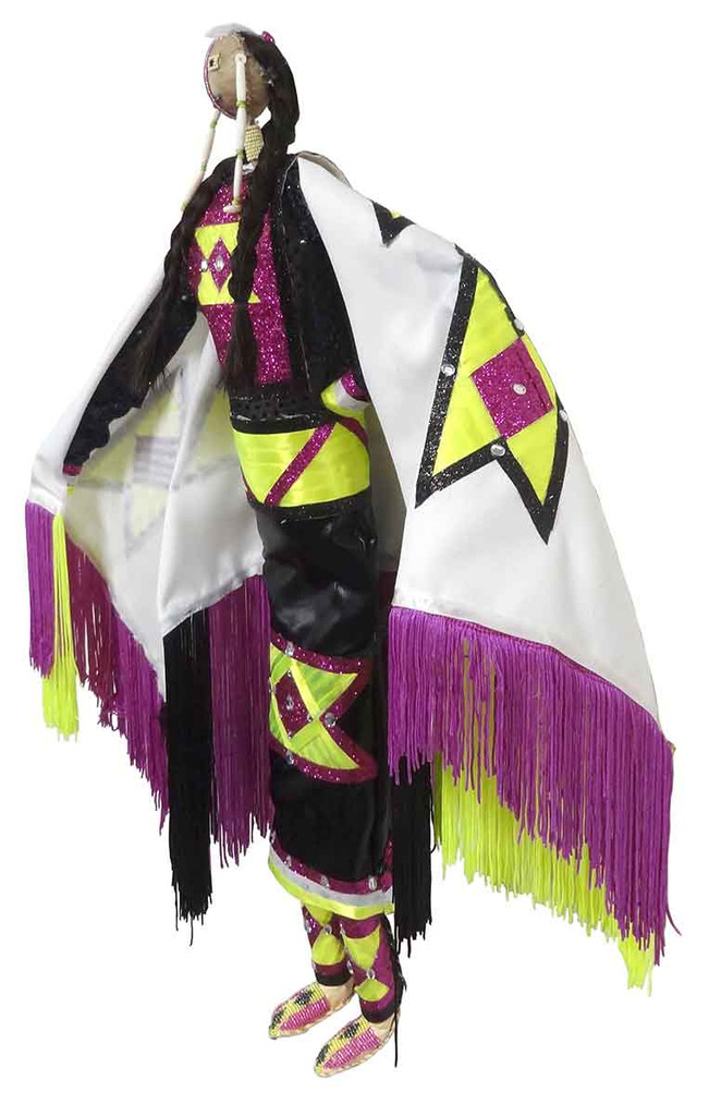 Native American Made Large Fancy Shawl Dancer Doll - Left View