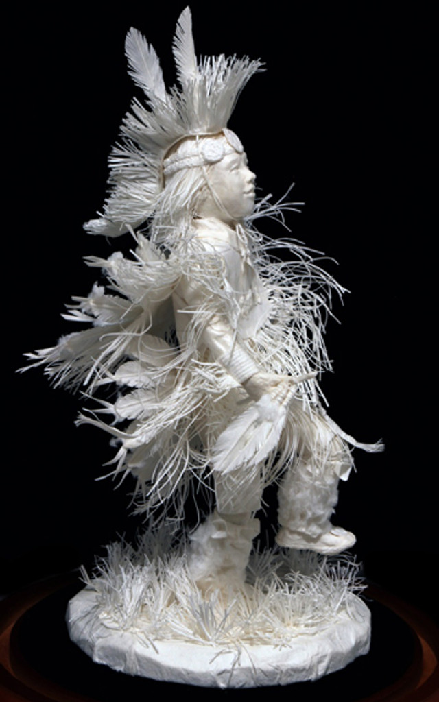 """""""Little Fancy Dancer"""" paper sculpture by Patty Eckman features a young Native American dancing in full regalia."""