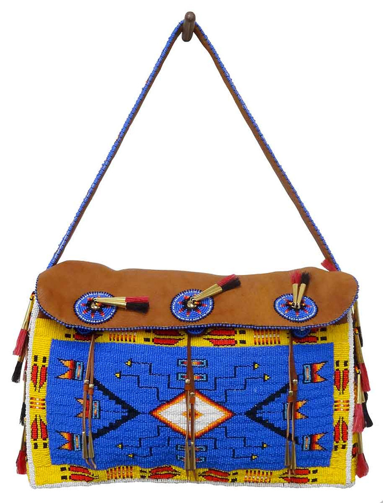 Native American Hand Beaded Large Tipi Bag w Strap: Blue & Yellow - Full View