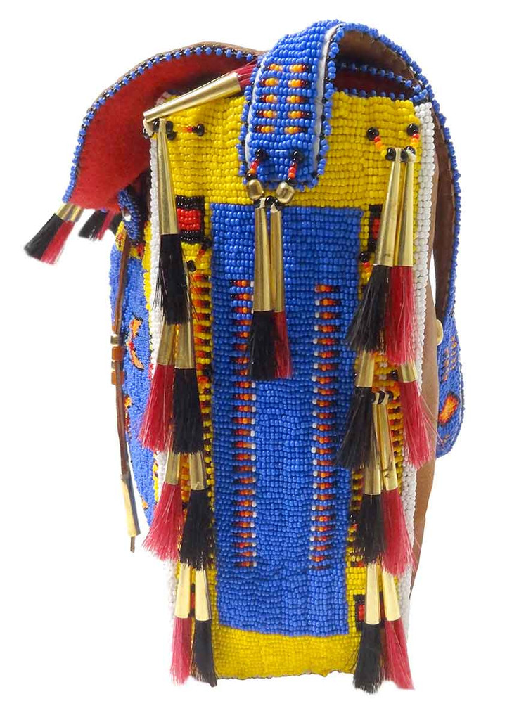 Native American Hand Beaded Large Tipi Bag w Strap: Blue & Yellow - Side View