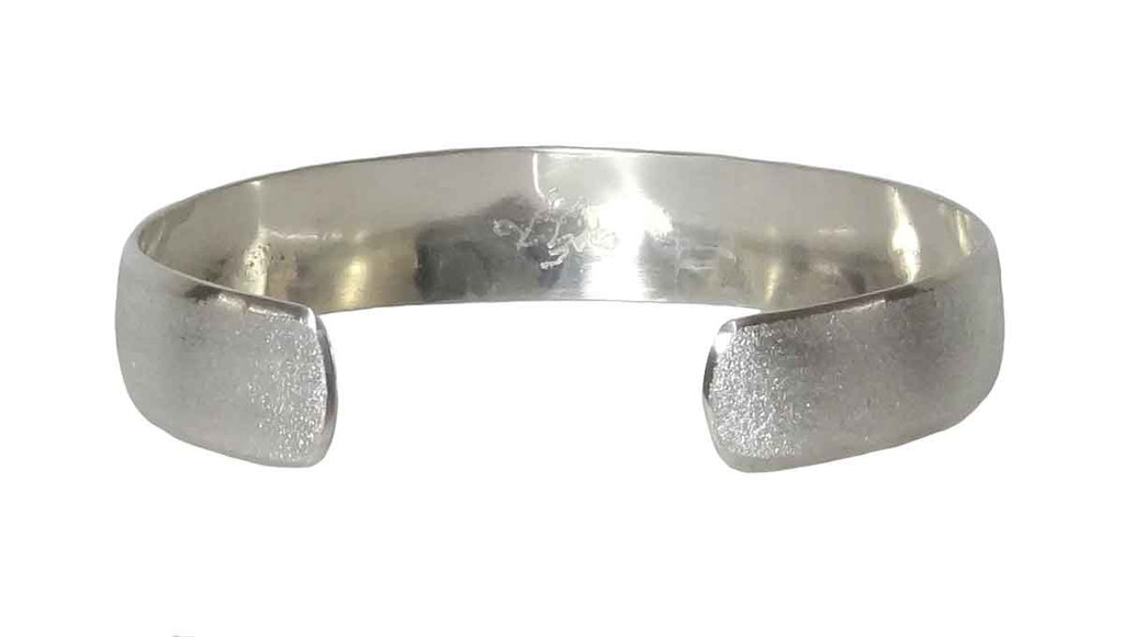 "Native American Made ""Tatanka"" Sterling Silver Bracelet (small) - inside view"