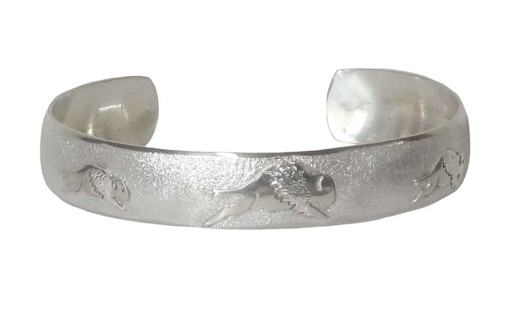 "Native American Made ""Tatanka"" Sterling Silver Bracelet (small)"