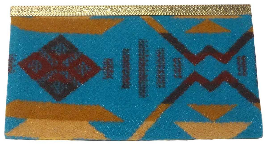 Native American Clutch Wallet: Turquoise - Back View
