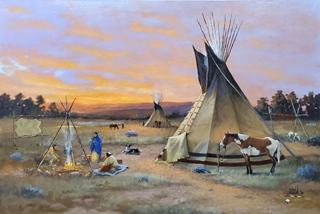 """""""Sunset and Campfires,"""" is an original acrylic painting on canvas by Native American artist, Del Iron Cloud."""