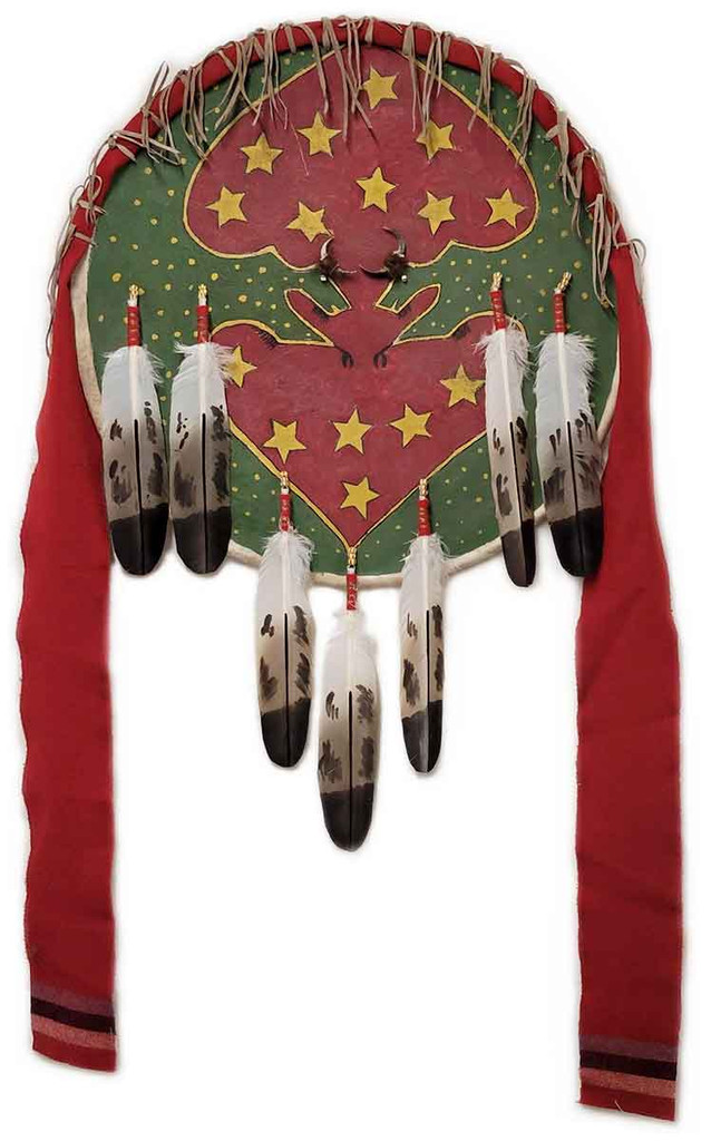 Native American Hand Painted Rawhide Shield: Two Bulls