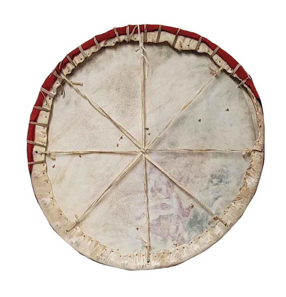 Native American Hand Painted Rawhide Shield: Two Bulls - Back View