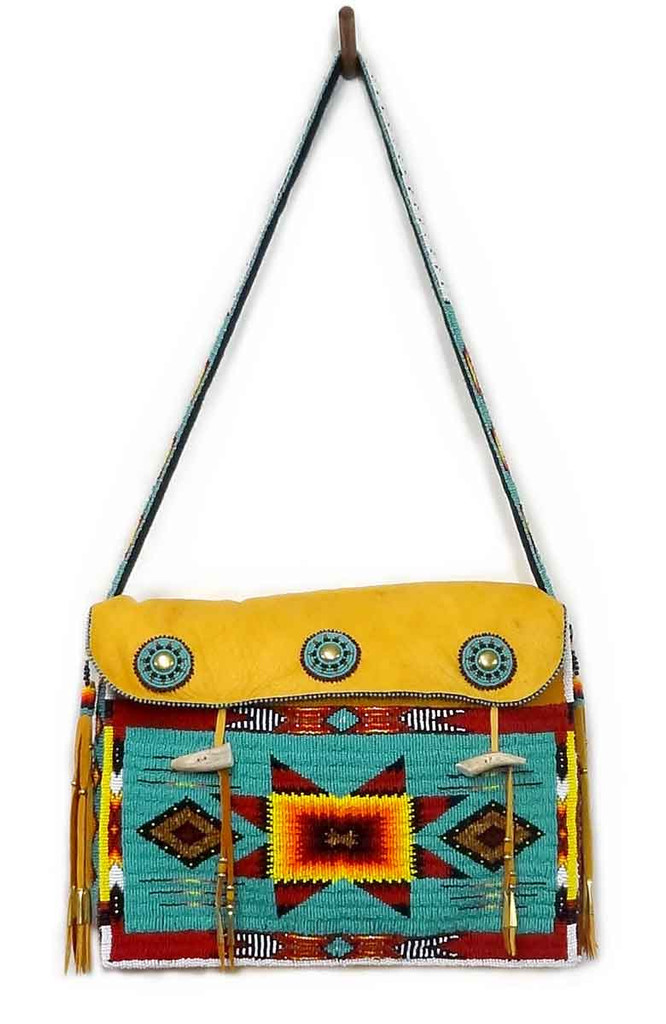Native American Hand Beaded Tipi Bag: Turquoise Green w Geometric Pattern - Front View
