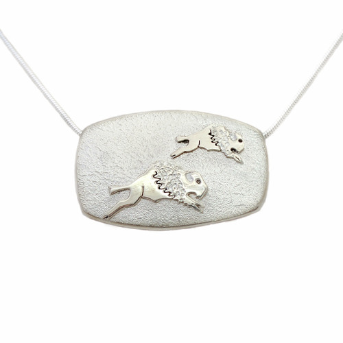 "Native American Made ""Tatanka"" Sterling Silver Necklace"