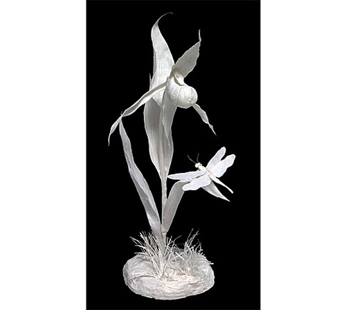 Lady Slipper Orchid with Dragonfly | Patty Eckman | cast paper sculpture
